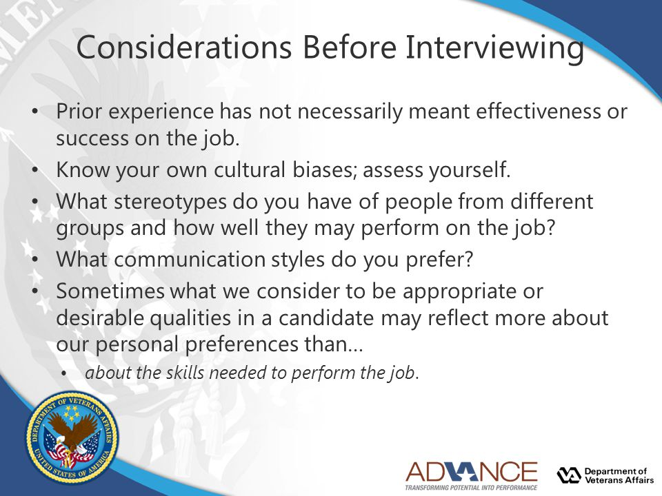 Considerations Before Interviewing