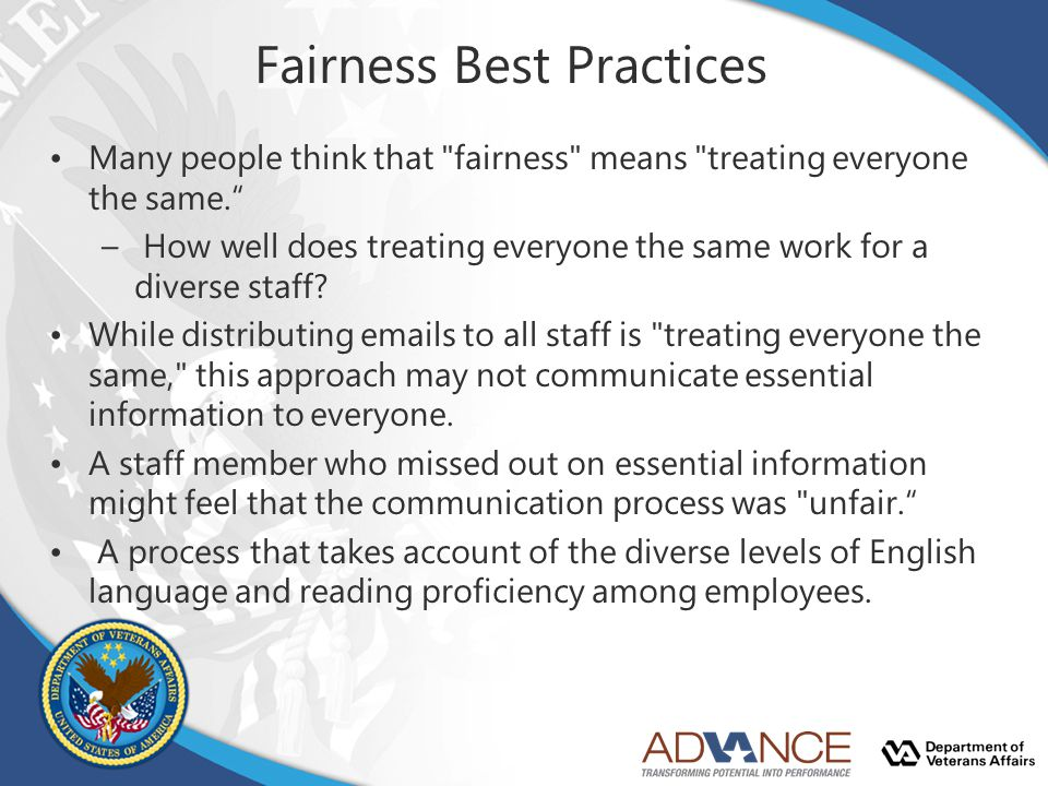 Fairness Best Practices