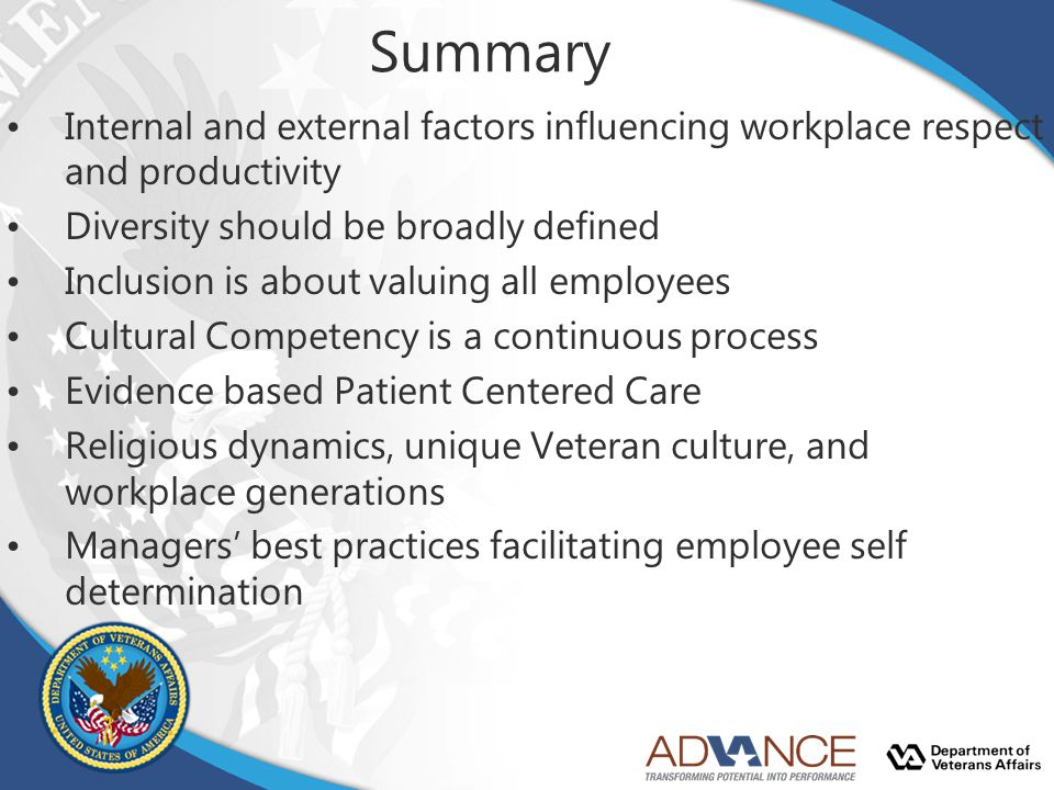 Summary Internal and external factors influencing workplace respect and productivity. Diversity should be broadly defined.