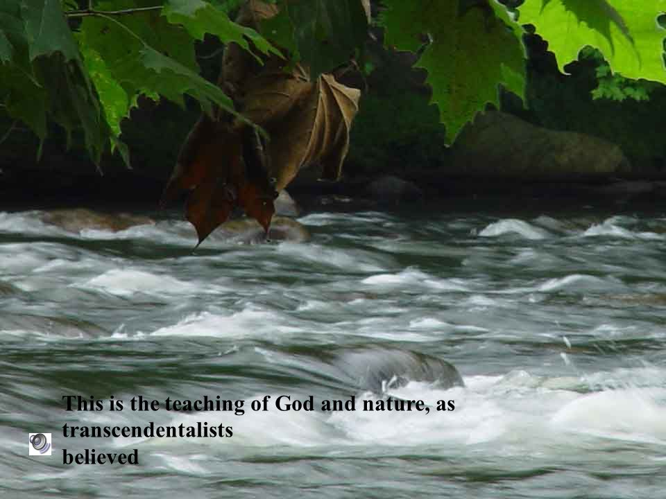 This is the teaching of God and nature, as transcendentalists