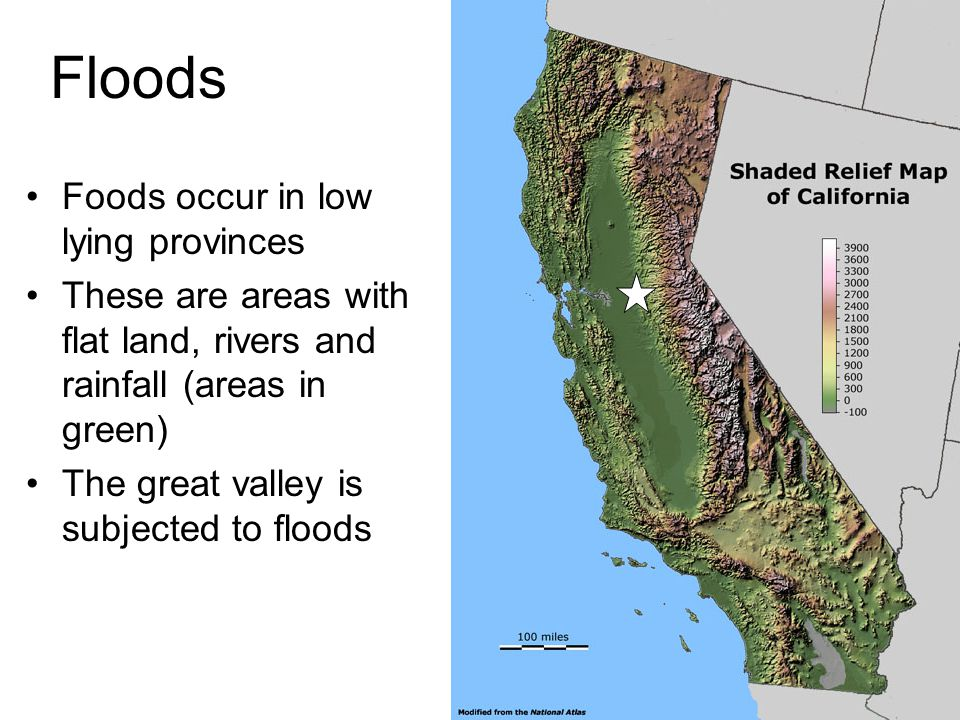 Floods Foods occur in low lying provinces