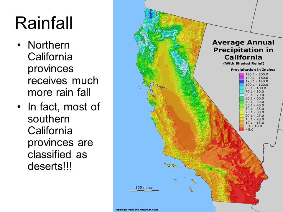 Rainfall Northern California provinces receives much more rain fall