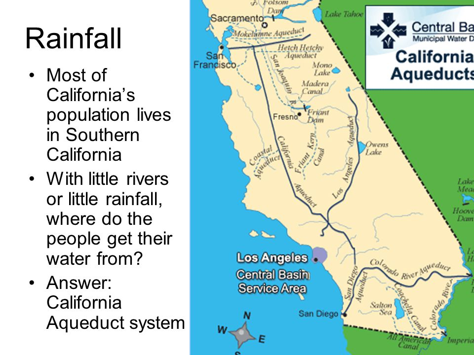 Rainfall Most of California's population lives in Southern California