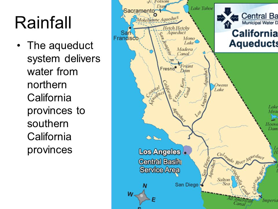 Rainfall The aqueduct system delivers water from northern California provinces to southern California provinces.