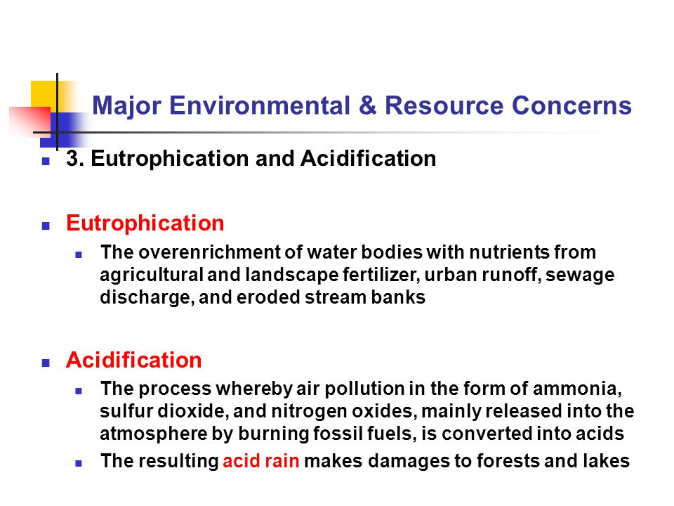 Major Environmental & Resource Concerns