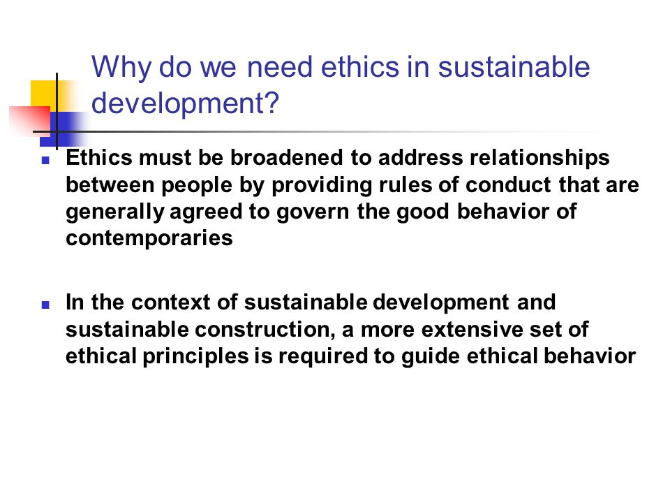 Why do we need ethics in sustainable development