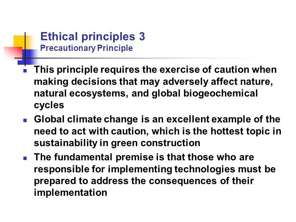 Ethical principles 3 Precautionary Principle