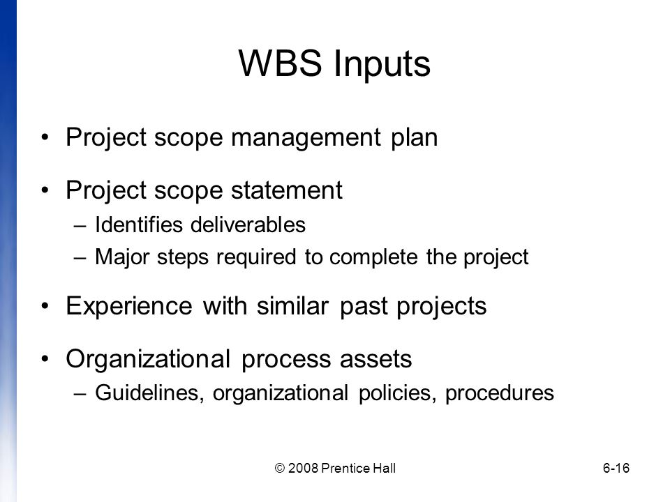 WBS Inputs Project scope management plan Project scope statement