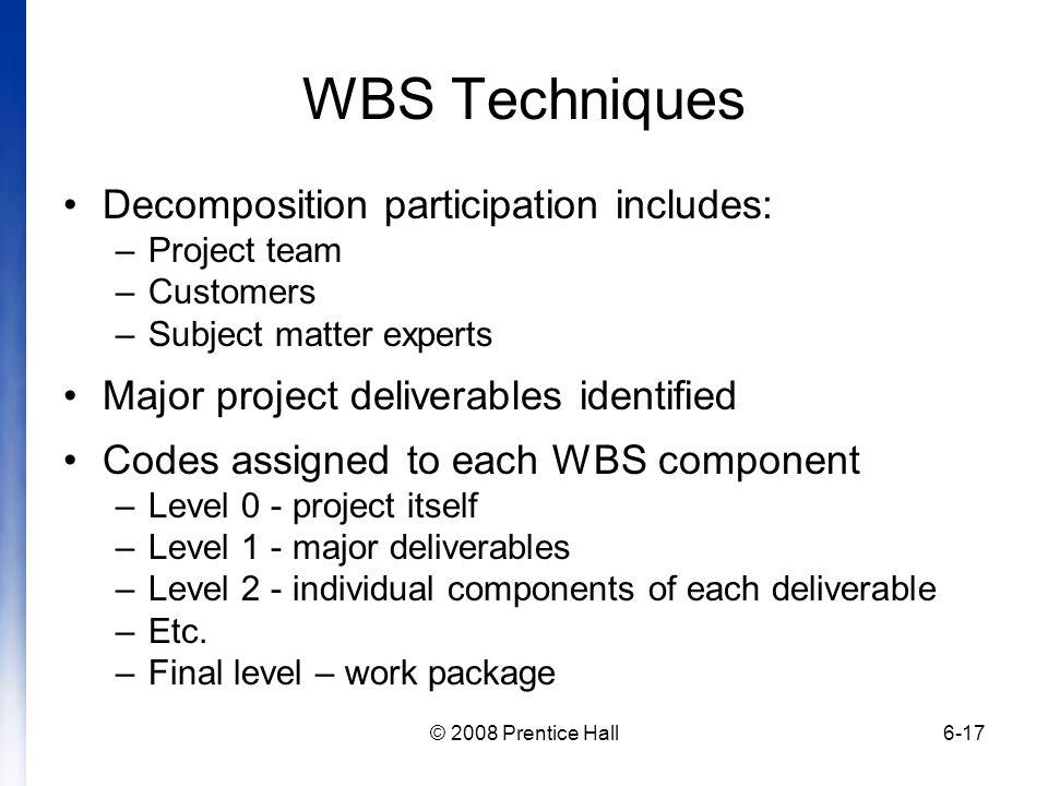 WBS Techniques Decomposition participation includes: