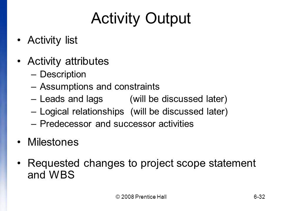 Activity Output Activity list Activity attributes Milestones