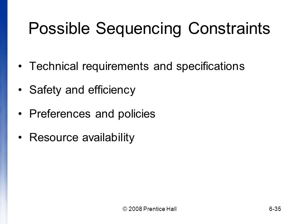 Possible Sequencing Constraints