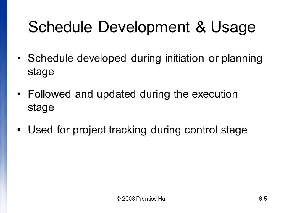 Schedule Development & Usage