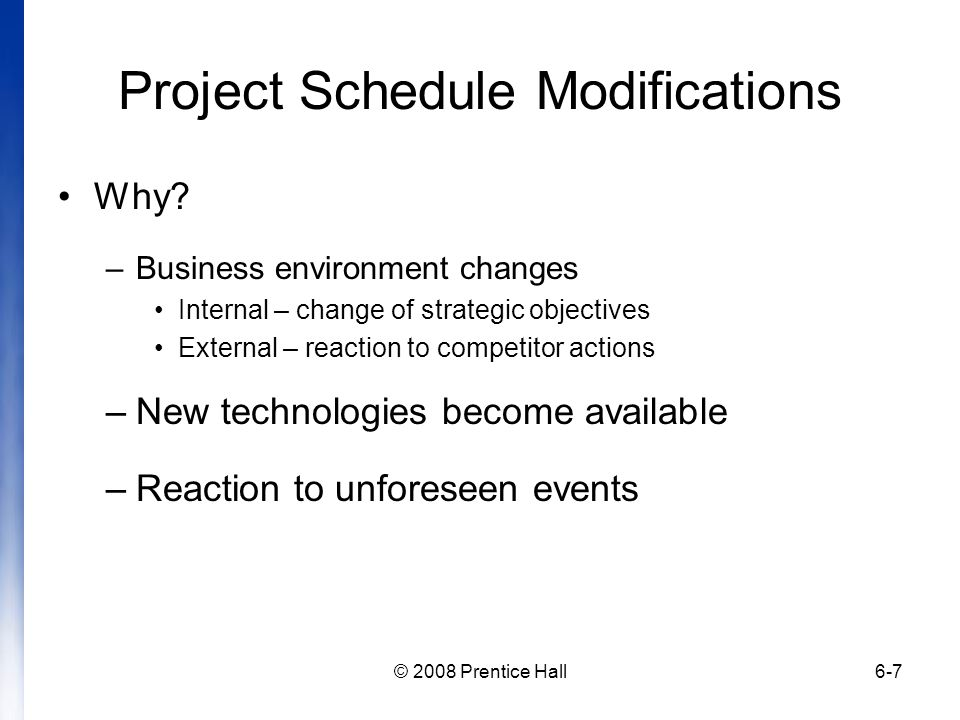 Project Schedule Modifications