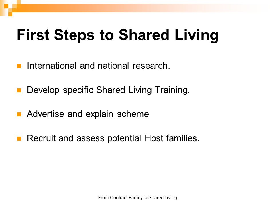 First Steps to Shared Living