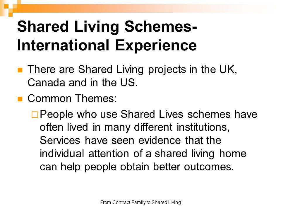Shared Living Schemes- International Experience