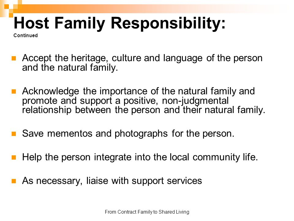 Host Family Responsibility: Continued