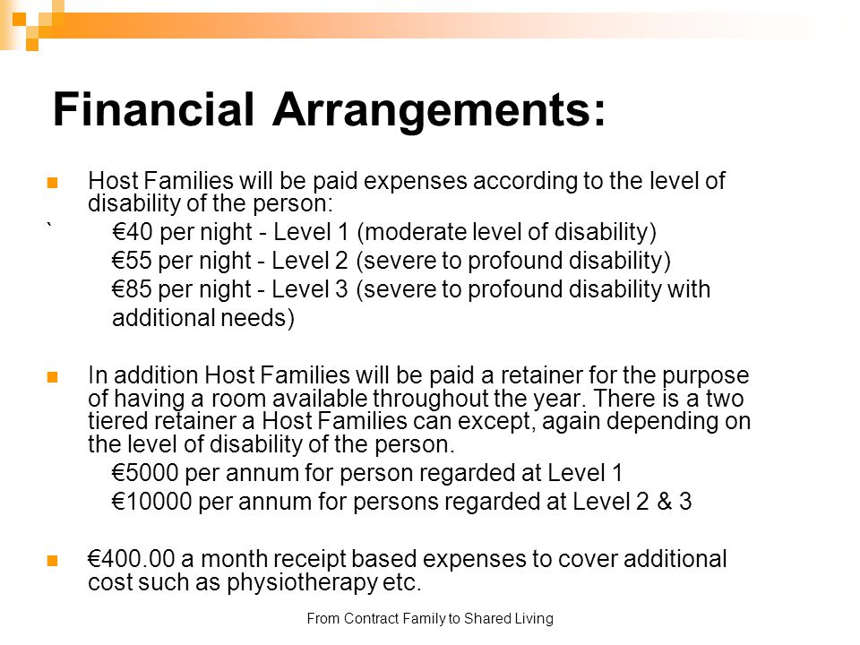 Financial Arrangements: