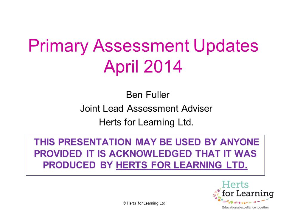 Primary Assessment Updates April 2014