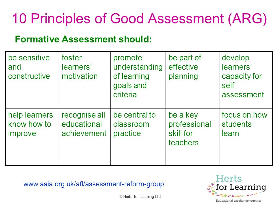 10 Principles of Good Assessment (ARG)