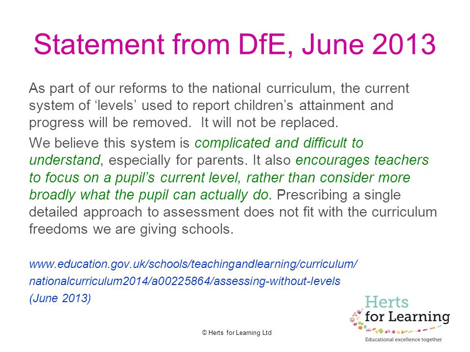 Statement from DfE, June 2013