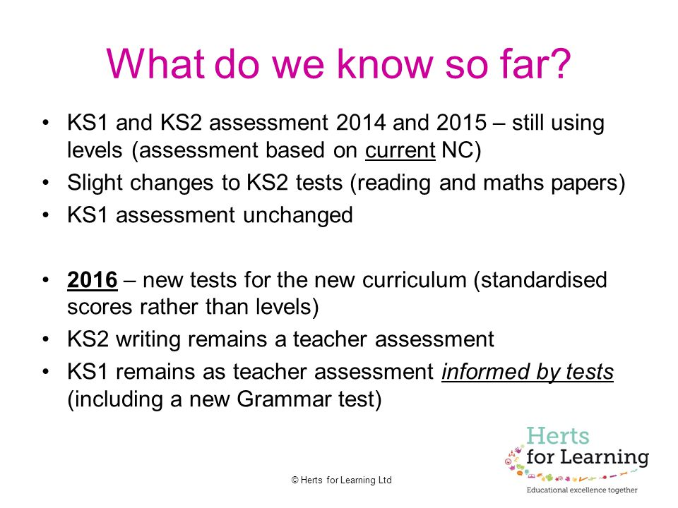 What do we know so far KS1 and KS2 assessment 2014 and 2015 – still using levels (assessment based on current NC)