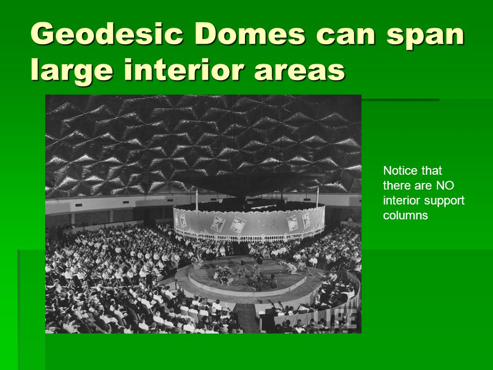 Geodesic Domes can span large interior areas