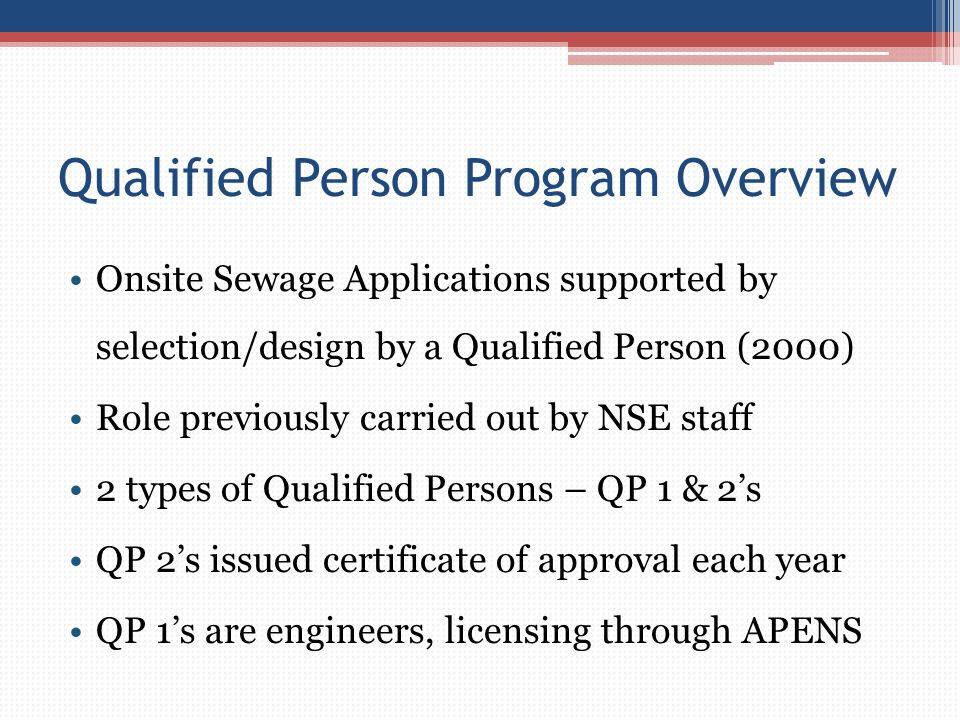 Qualified Person Program Overview
