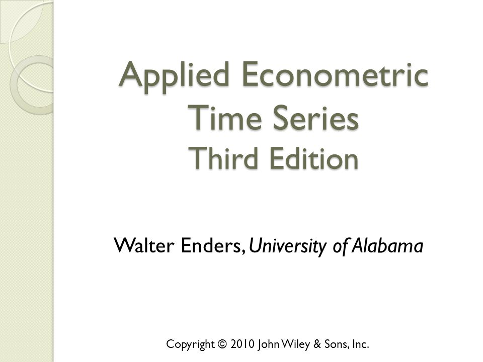 Applied Econometric Time Series Third Edition