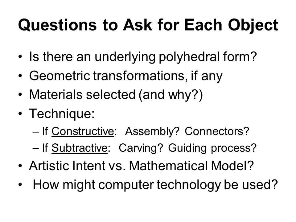 Questions to Ask for Each Object