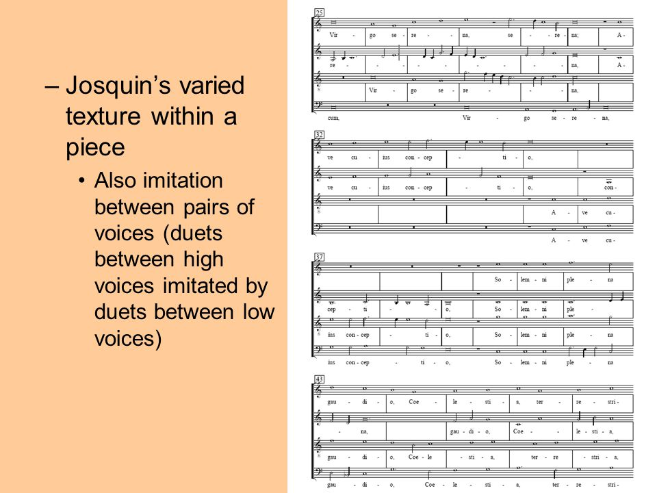Josquin's varied texture within a piece