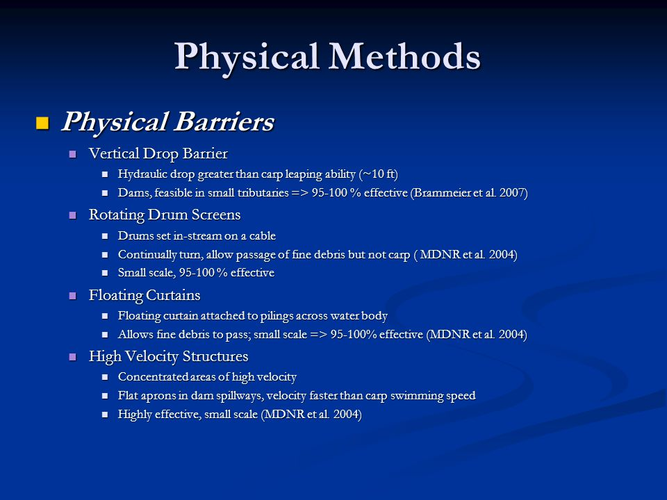 Physical Methods Physical Barriers Vertical Drop Barrier