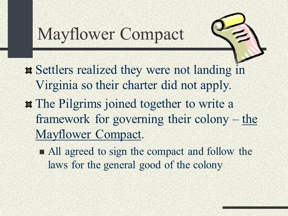 Mayflower Compact Settlers realized they were not landing in Virginia so their charter did not apply.
