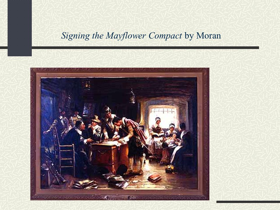 Signing the Mayflower Compact by Moran