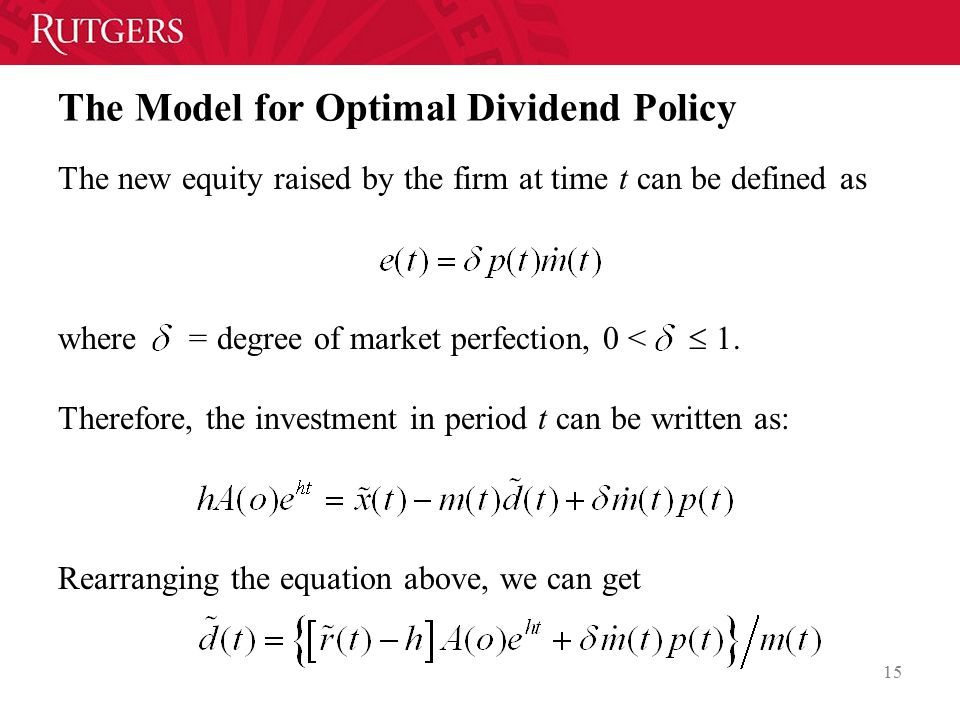 The Model for Optimal Dividend Policy