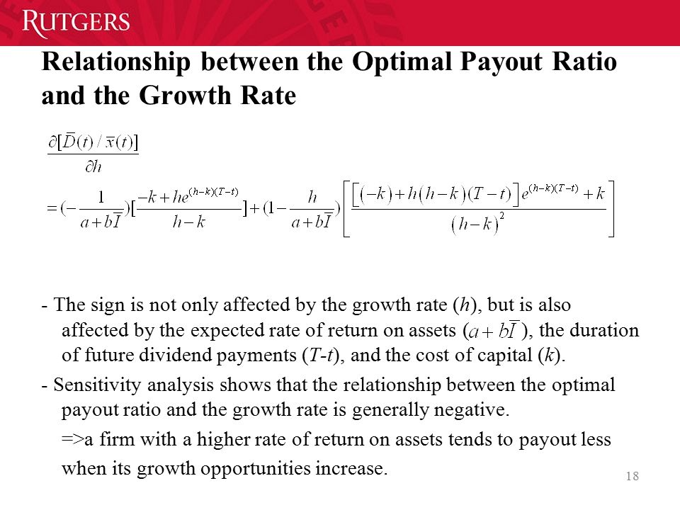 Relationship between the Optimal Payout Ratio and the Growth Rate