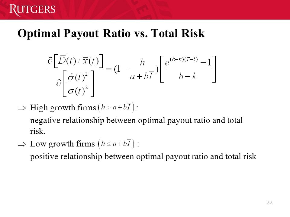 Optimal Payout Ratio vs. Total Risk