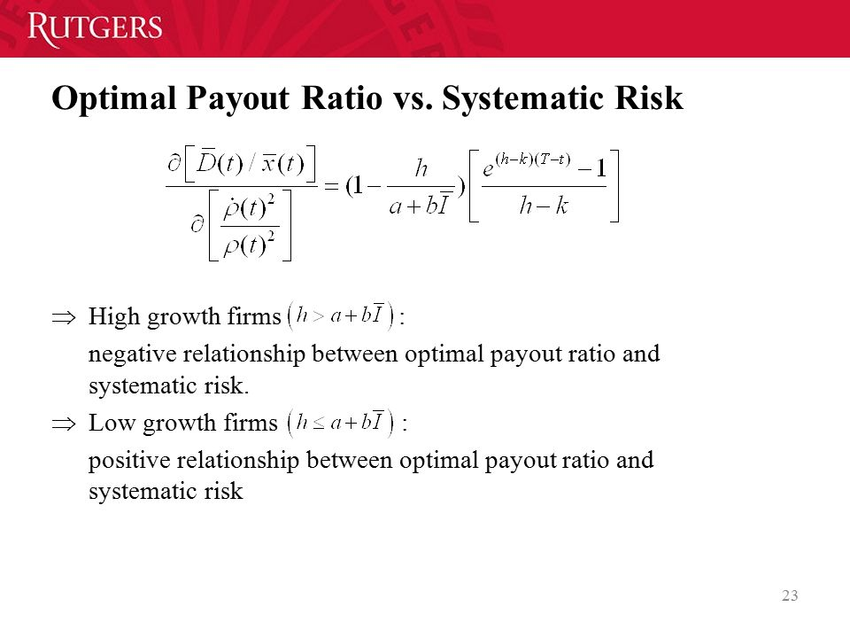Optimal Payout Ratio vs. Systematic Risk