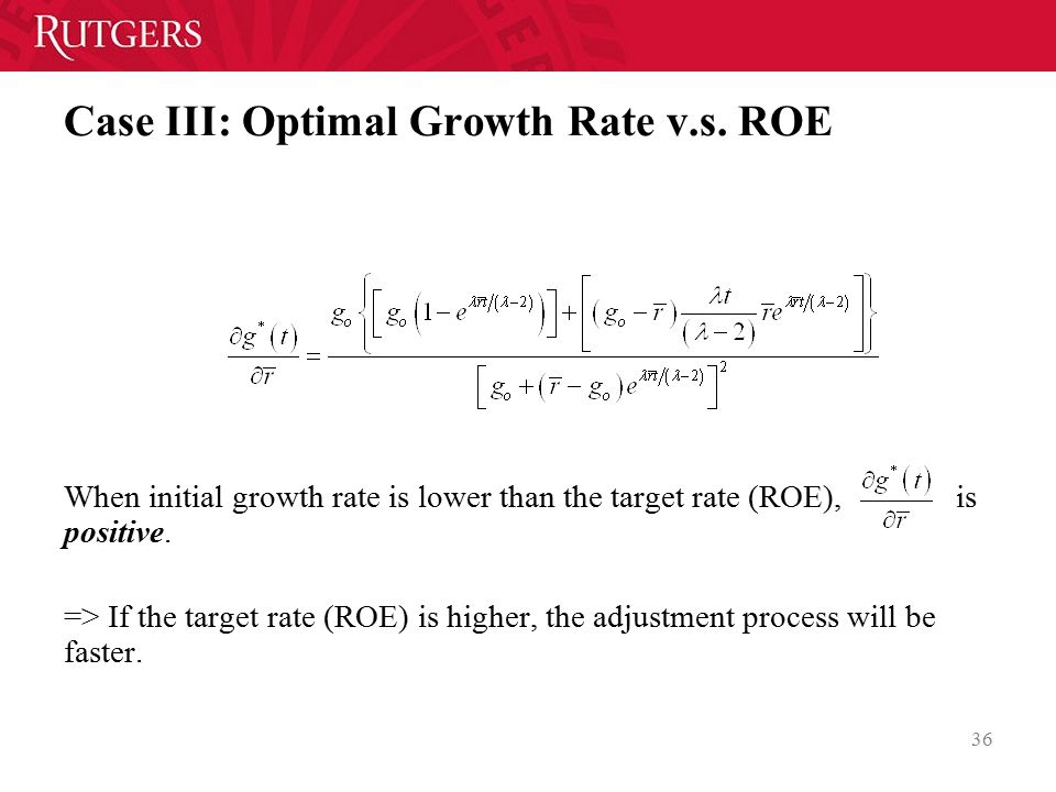 Case III: Optimal Growth Rate v.s. ROE