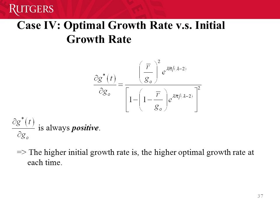 Case IV: Optimal Growth Rate v.s. Initial Growth Rate