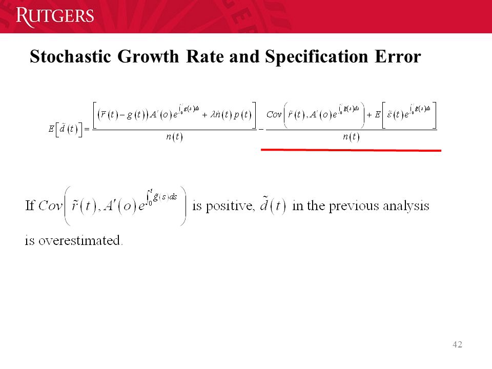 Stochastic Growth Rate and Specification Error