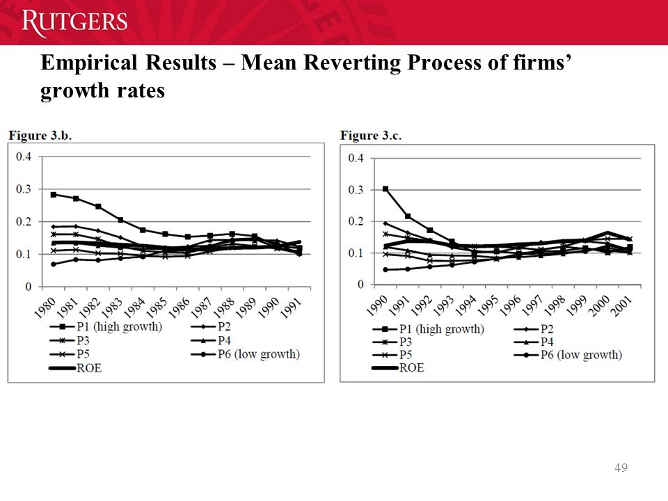 Empirical Results – Mean Reverting Process of firms' growth rates