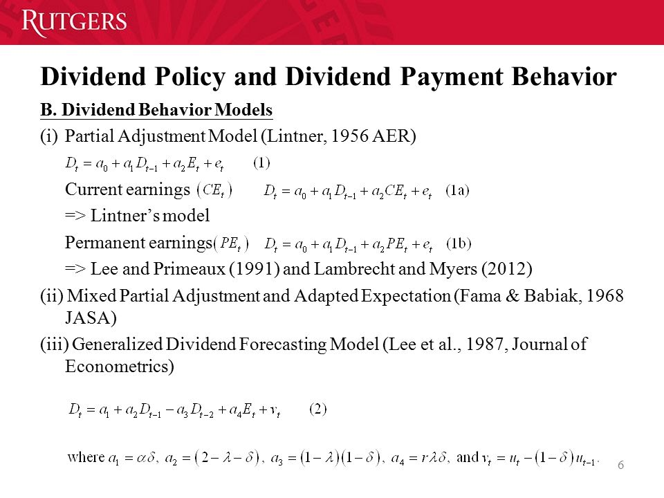 Dividend Policy and Dividend Payment Behavior