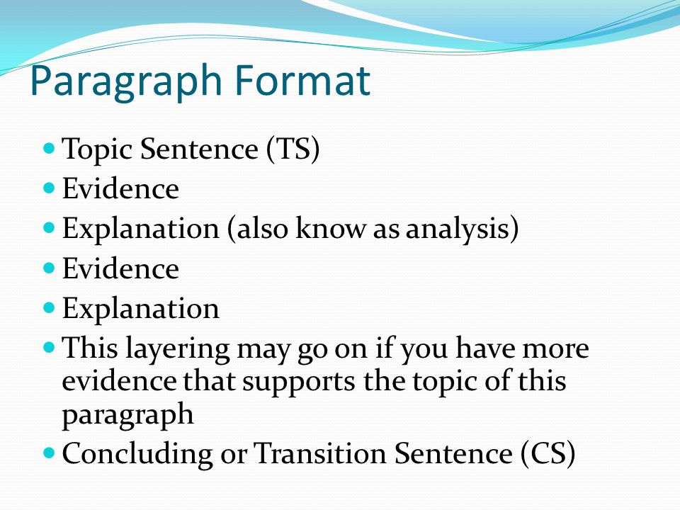 Paragraph Format Topic Sentence (TS) Evidence