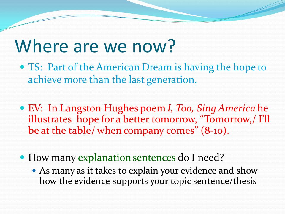 Where are we now TS: Part of the American Dream is having the hope to achieve more than the last generation.
