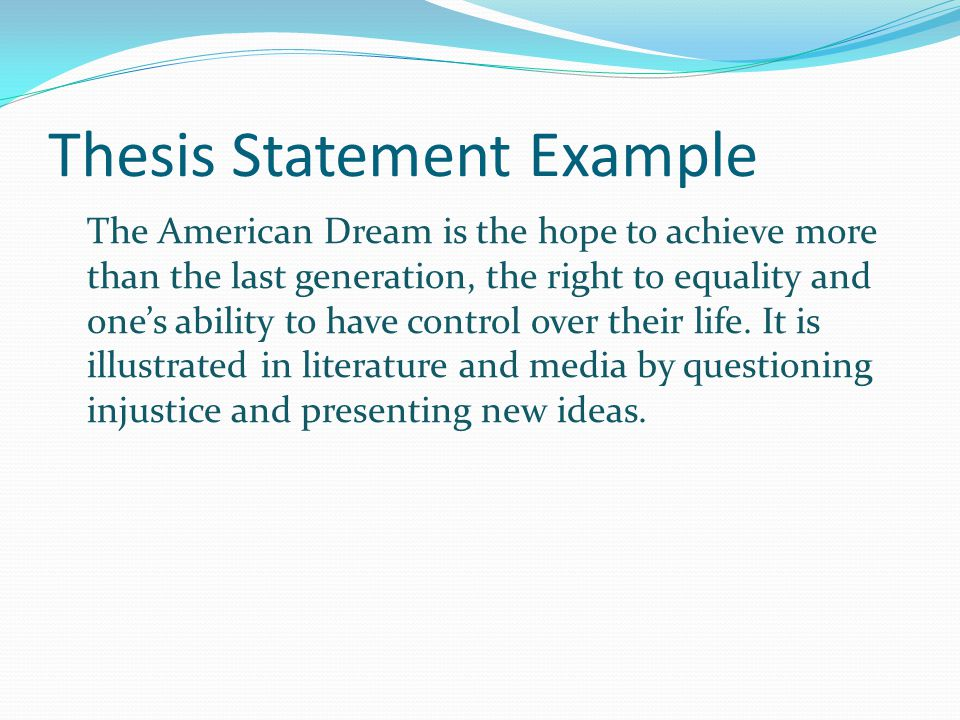 thesis statement example - Personal Essay Thesis Statement Examples