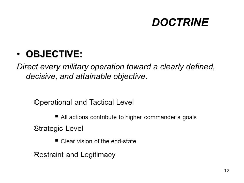 DOCTRINE OBJECTIVE: Direct every military operation toward a clearly defined, decisive, and attainable objective.