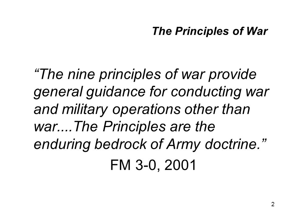 FM 3-0, 2001 The Principles of War