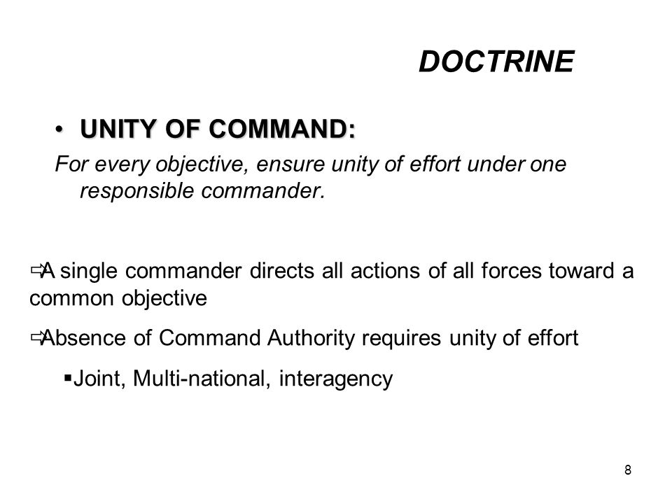 DOCTRINE UNITY OF COMMAND: