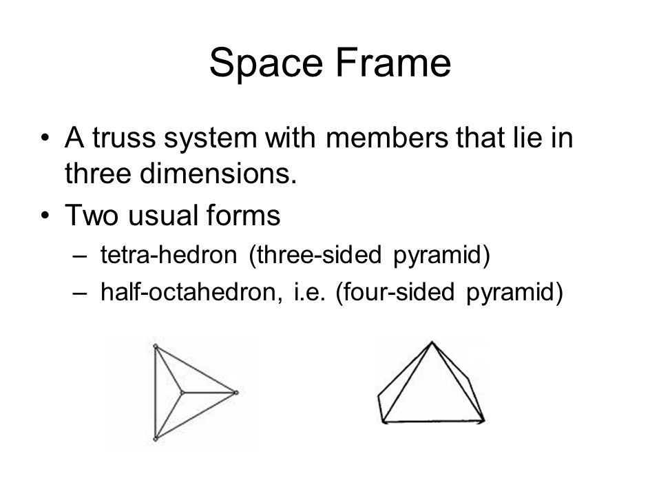 Space Frame A truss system with members that lie in three dimensions.