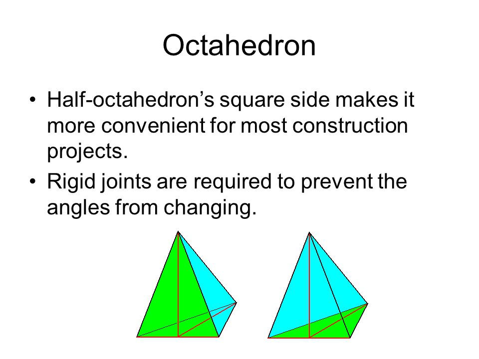 Octahedron Half-octahedron's square side makes it more convenient for most construction projects.